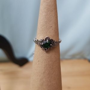 Sterling silver ring with green stone